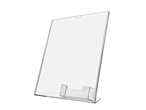 Deflecto Superior Image Slanted Sign with Business Card Holder 8 1/2'' x 11'' (590601) (Clear, 2) by Deflect-O