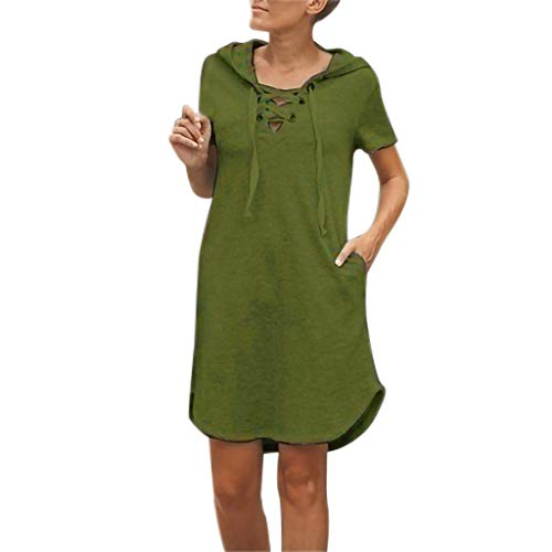 (Tie Dresses for Women Short,LYN Star❤ღ♕Womens Casual Round Neck Puff Sleeve Tie Knot Front Solid Pencil Dress Green)