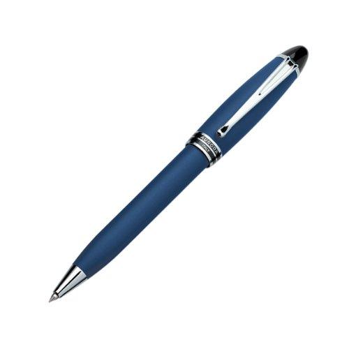 Aurora Blue Mat Velvet Resin Ballpoint Pen, Black Lacquer Ring, Chrome Plated Trims - Aurora Ballpoint Pen