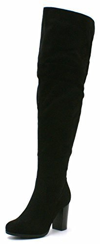 SHU CRAZY Womens Ladies Faux Suede High Block Heel Over The Knee High Fashion Thigh Boots - V82 Black