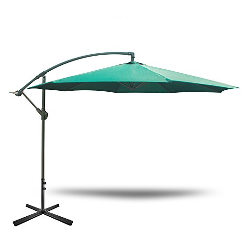 Yongtong 10 Ft Offset Cantilever Hanging Patio Umbrella, with Cross Buttom Base and Tilt & Crank, Outdoor Market Sun Shade UV Resistant Adjustable Umbrellas for Cafe, Beach, Garden (Green)