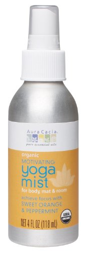 Aura Cacia Organic Body, Mat and Room Yoga Mist, Motivating Sweet Orange and Peppermint, 4 Fluid Ounce (Aura Cacia Mist)