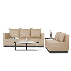 Adorn India Sal Wood Straight Line Modular Sofa, Beige