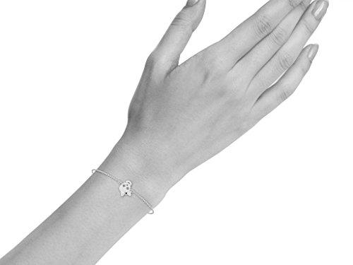 Or Blanc 18 ct Bracelet Diamant en forme de crâne, 0.02 Ct Diamant, GH-SI, 2.45 grammes.