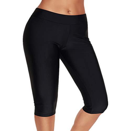 - Calflint Womens Mid Waist Rash Guard Pants Crop Swim Leggings Unitard Tankini Capri 4X-Large Size Black