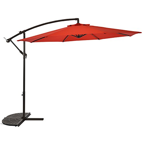 LCH 10 Ft 8 Ribs Offset Cantilever Outdoor Patio Hanging Umbrella Backyard Garden Lawn Cross Base, Polyester UV Protective, Red by LCH