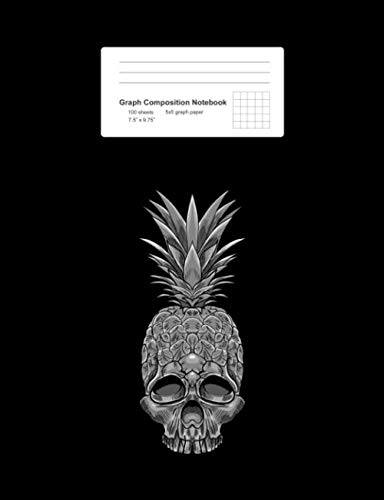 Graph Composition Notebook: Pineapple Skull Retro  Tropical Fruit Skeleton Gift - Black Math, Physics, Science Exercise Book - Back To School Gift For ... Teens, Boys, Girls - 7.5