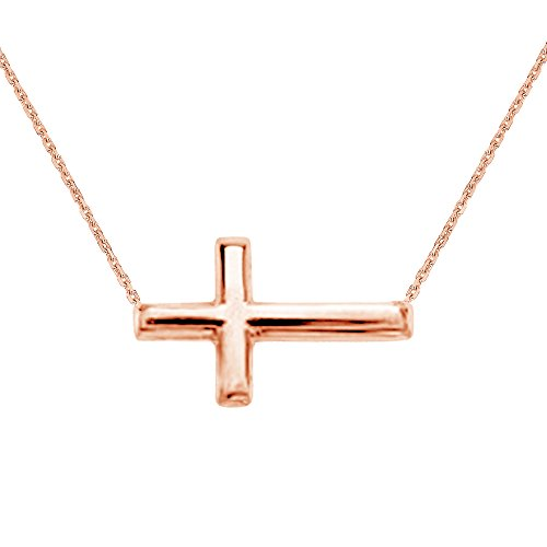 Gold Confirmation Cross - 14K Pink Rose Gold Sideways Cross Necklace Adjustable Chain 16-18 Inches