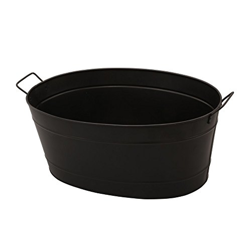 - Benzara HGM009 Oval Shaped Powder Coated Galvanized Steel Tub, Black