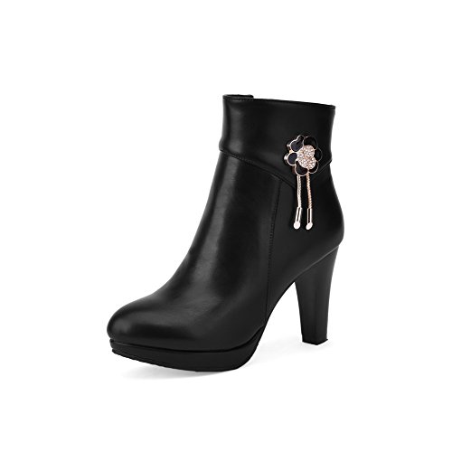 AllhqFashion Damen Blend-Materialien Hoher Absatz Rund Zehe Stiefel Schwarz-Reißverschluss