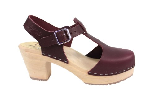 Lotta From Stockholm Highwood Tbar High Heel Clogs in Aubergine Leather:  Amazon.co.uk: Shoes & Bags
