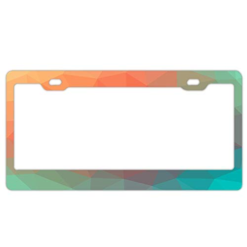 DIY Tino Color Triangle Geometric Textured Mosaic Pattern Stainless Steel Metal License Plate Frame Screw Caps Tag Cover