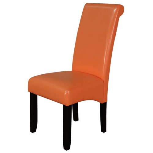 Monsoon Pacific Milan Faux Leather Dining Chairs, Sunrise Orange, Set of - Orange Chair Faux Leather