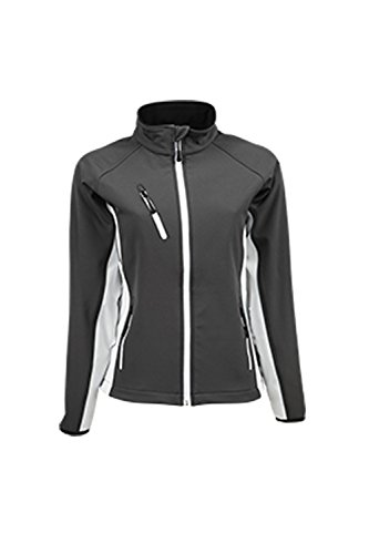 tj9550N Ladies Softshell Jacket Dark Grey (Solid)-White