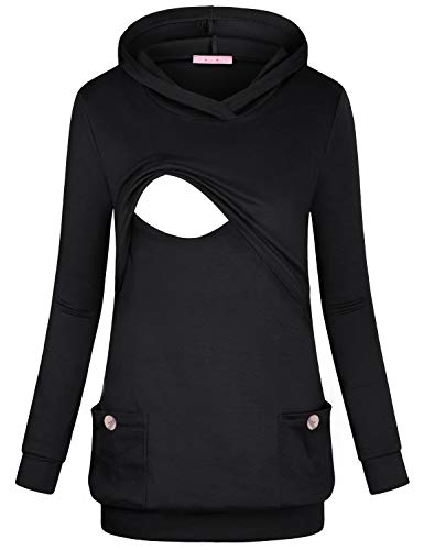 Pregnancy Outfit - JOYMOM Nursing Long Sleeve Tops, Gravida V Neck Tunic Hoodie for Leggings Pregnancy Banded Bottom Loose Fitting Dressy Shirt Cute and Comfy Cotton Sweatshirts Maternity Outfits Black X-Large