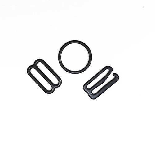 20set Black Metal Lingerie Hardware Sewing Clips Clasp Hooks for Bra Strap 14mm Sewing Intimate Accessories Wb97