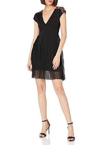 French Connection Women's Dumaka Beaded Jersey Dress, Black/Multi, 4