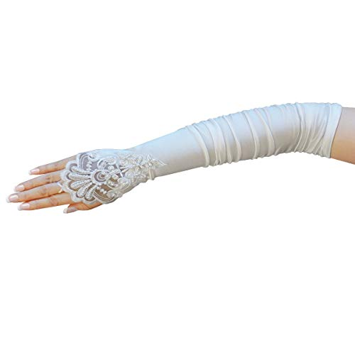 ZaZa Bridal Gathered Satin Fingerless Gloves w/Floral Embroidery Lace & Sequins-White