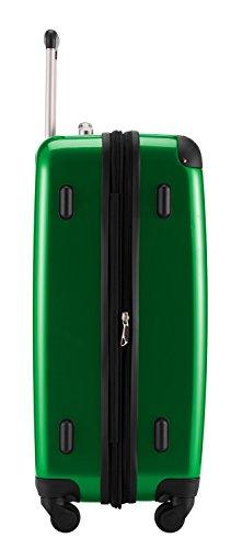 HAUPTSTADTKOFFER® Hartschalen Koffer · 3 Koffergrößen (45 Liter · 87 Liter · 130 Liter) · Hochglanz · Entweder mit Normalen oder TSA Zahlenschloss · METALLIC GRÜN (130 Liter TSA Schloss)