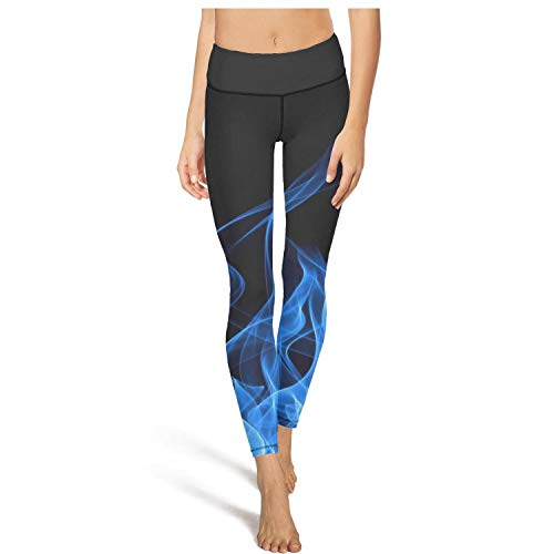 AugGThomas Womens Blue Flames Wallpaper Fire Workout Running Leggins Tummy Control Stretch Yoga Pants with Pockets