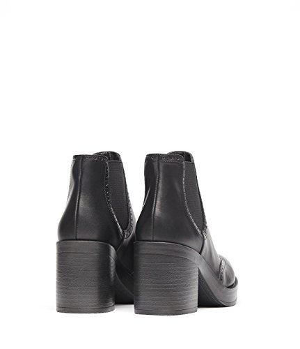 PoiLei Millie - Damen-Schuhe / klassischer Chelsea-Boot mit breitem Block-Absatz - mit Plateau-Sohle und Budapester-Muster - schwarz
