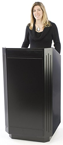 Displays2go Rolling Podium, Mobile Pulpit for Speaking, Black Laminate, 47