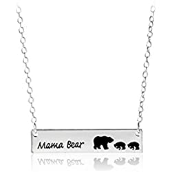 Wiw Mama Bear Bar Necklace for Mother Gift for Family with 2 Cubs Silver