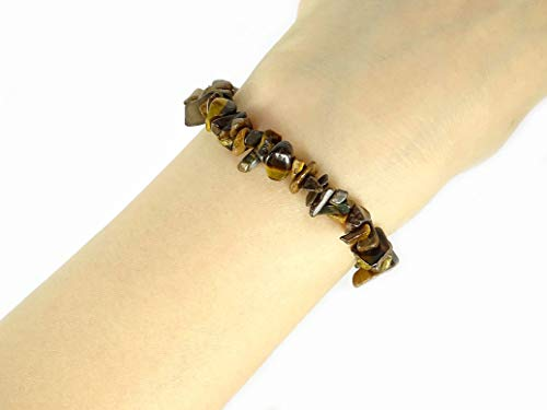 (jennysun2010 Natural Tiger's Eye Gemstone 5-8mm Freeformed Chip Beads Stretchy Bracelet Healing Reiki Chakra 8