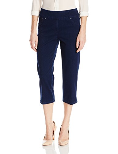 Ruby Rd. Women's Plus Size Pull Dyed Stretch Knitted Twill Cropped Capri, Indigo, 16W (Dyed Capri Pants)