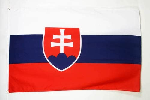 "SLOVAKIA 12/""X 18/"" INCH COUNTRY FLAG BANNER ON 2 FOOT WOODEN STICK ..NEW"
