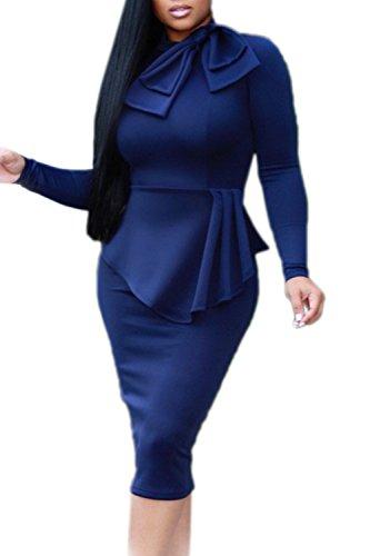 Vepodrau Colmena MIDI Dress Mujeres Peplum Plisada Darkblue Bowknot Irregular Oficina rBYwdxrqUS