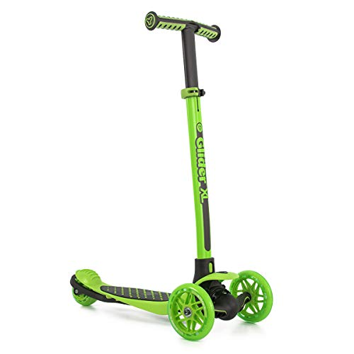 Yvolution Y Glider XL | 3 Wheeled Scooter for Boys and Girls Age 5-10 Years | Extra-Wide Deck Green