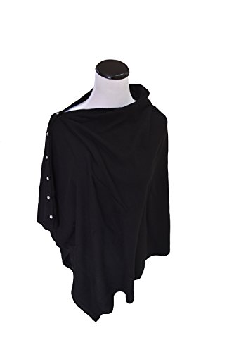 Anna Kristine Pure Cashmere Asymmetrical Poncho - Black with Crystal Buttons by Anna Kristine