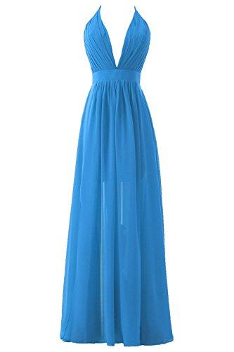 Fessura A Pieghe Sera Superiore Blu Donne Backless Collo Del Gettando Delle Dis Vestito Convenzionale Prom wR4xOqf