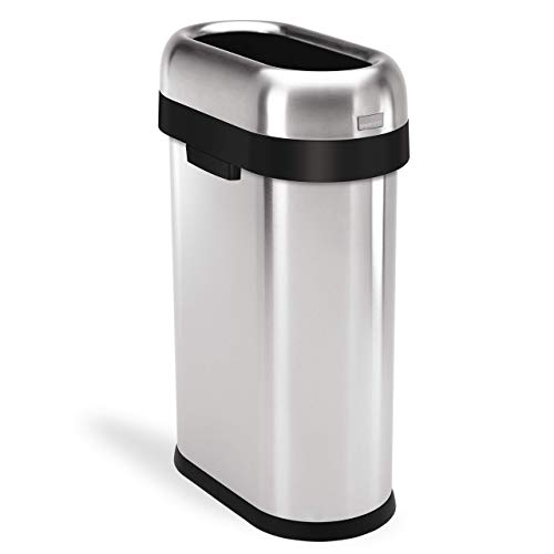 - simplehuman Slim Open Top Trash Can, Commercial Grade, Heavy Gauge Stainless Steel, 50 L / 13 Gal (Renewed)