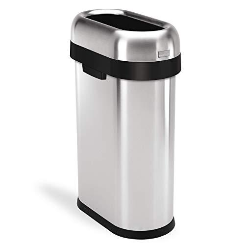 simplehuman Slim Open Top Trash Can, Commercial Grade, Heavy Gauge Stainless Steel, 50 L / 13 Gal (Renewed)