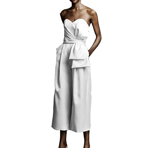 ONLY TOP Womens Boho High Waisted Lounge Split Wide Leg Palazzo Culottes Pants with Belt White
