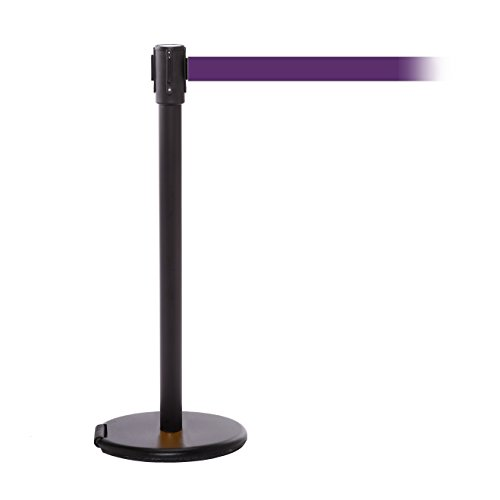(ComeAlong Crowd Control Stanchion Black Anti Scuff Roller Base Post with 11' Heavy Duty Nylon Belt, Purple (Pack of 2) )