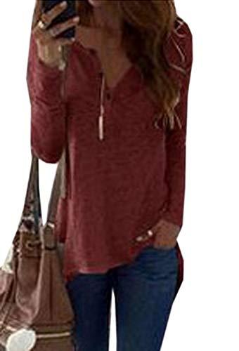 Tunique Manches et T Fashion Jumpers Longues JackenLOVE Blouse Printemps Automne Tees Irregulier Vin Tops Hauts Casual Rouge Femmes Shirts Sqz6q7