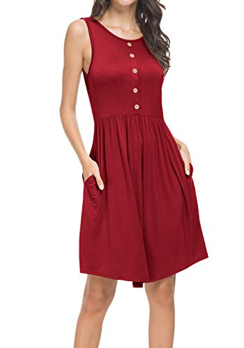 Womens Summer Casual Plain Loose Swing Pleated Pockets Tunic Tank Dress Wine L ()