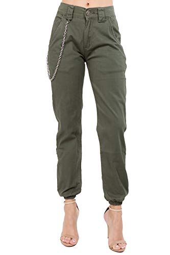 (TwiinSisters Women's High Rise Slim Fit Plus Size Belted Jogger Pants - Size Small to 3X)