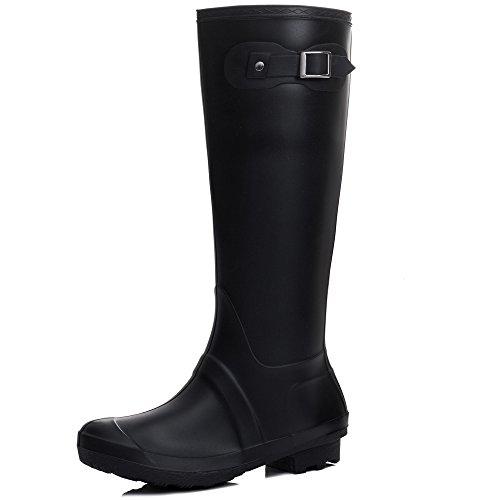 Spylovebuy MOANNA Women's Knee High Flat Festival Wellies Rain Boots Black Tall