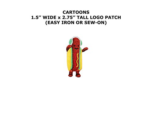 Hot Dog Costume Dance (Dancing Hotdog Snapchat Filter Embroidered Iron/Sew-on Cartoon Theme Logo Patch/Applique)
