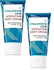 Bath and Body Works 2 Pack Water Travel Size Hyaluronic Acid Hydrating Body Cream. 2.5 Oz