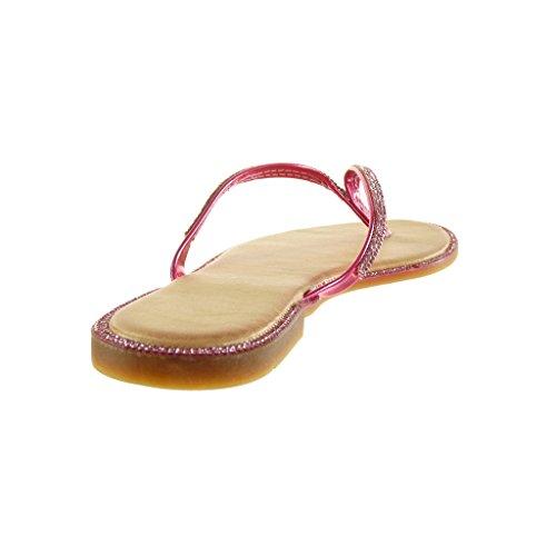 Angkorly - Zapatillas de Moda Sandalias Chanclas mujer strass brillantes Talón Tacón ancho 1 CM - Rosa