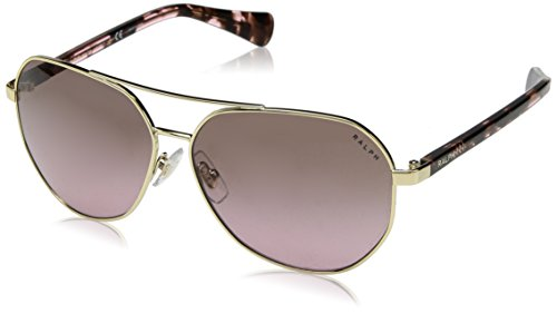 Ralph by Ralph Lauren Women's Metal Woman Sunglass Aviator, LIGHT GOLD, 59 mm ()