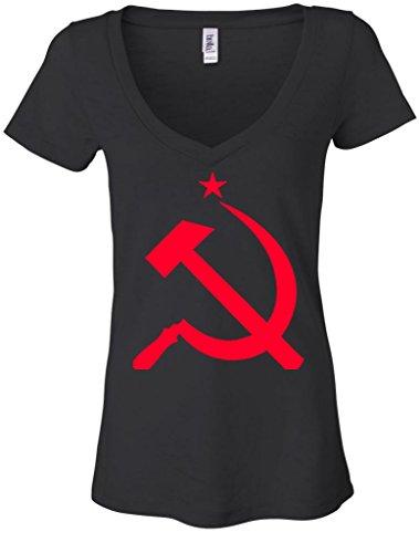 Ladies Red Hammer And Sickle Russia Black Burnout V-Neck Shirt Med