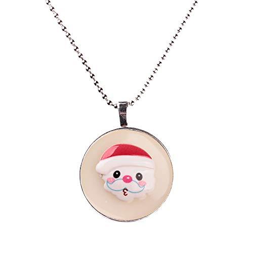 - Slendima 1.30 x 1.50 Lovely Christmas Series Luminous Pendant Santa Claus Snowman Tree Long Chain Necklace Xmas Jewelry Gift 5