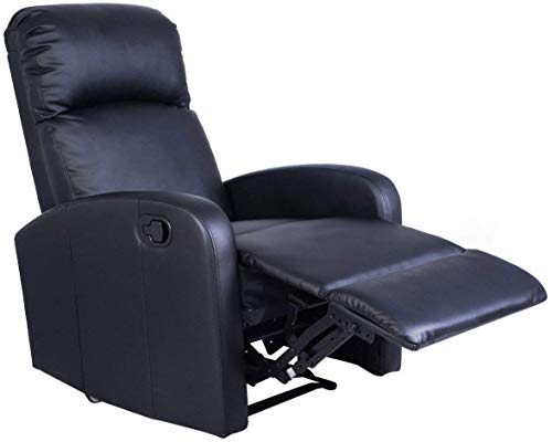 Recliner Glider Full Leather Swivel (Recliner Chair PU Leather – Manual Reclining Sofa Seat - Modern Furniture Living Room - Black - Gift Yoga E-Book)