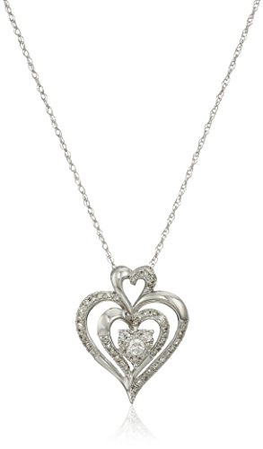 10k White Gold Diamond Heart Pendant Necklace (1/4 cttw, I-J Color, I2-I3 Clarity), -